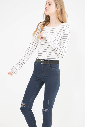 Cotton T-shirt with striped pattern, Milky White, hi-res