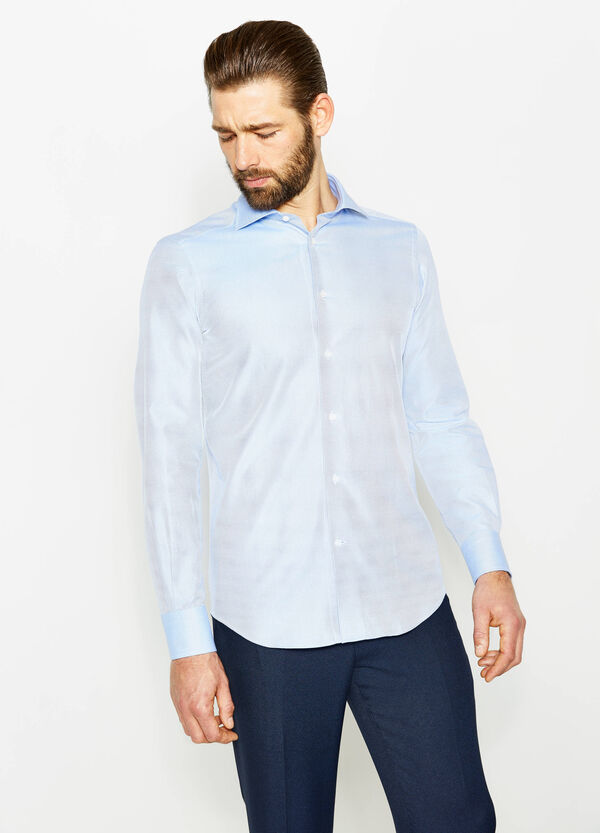 Formal shirt with slim fit and raised weave | OVS