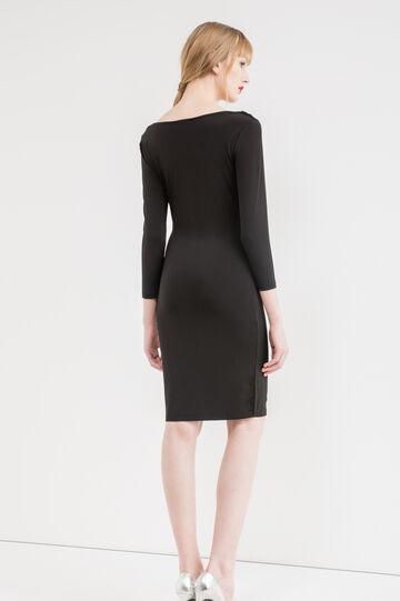 Stretch dress with three-quarter sleeves, Black, hi-res