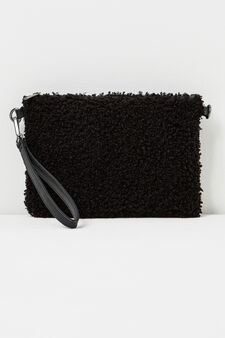 Solid colour faux fur clutch, Black, hi-res