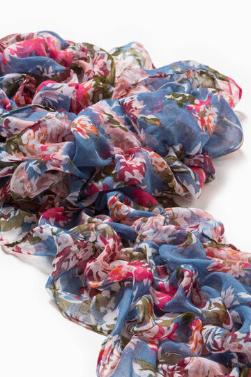 Gathered effect scarf with floral pattern