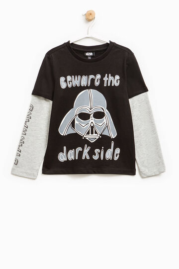 Star Wars print T-shirt with faux layer, Black/Grey, hi-res