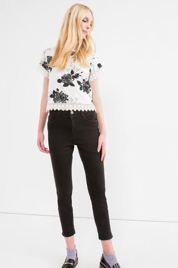 Patterned crop T-shirt in stretch viscose, Black, hi-res