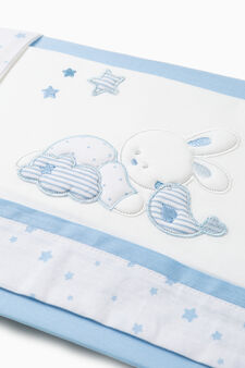 Crib set with animal patches, White/Light Blue, hi-res