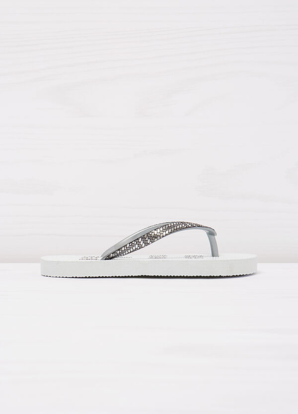 Solid colour printed thong sandals | OVS