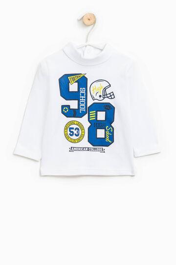 Printed turtleneck jumper in 100% cotton, White, hi-res
