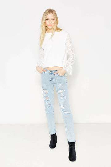 Sweatshirt with lace sleeves