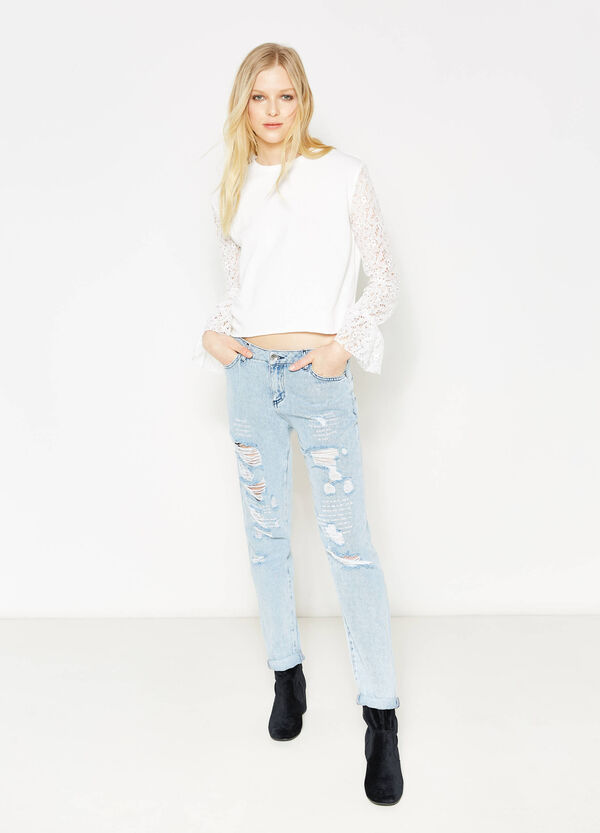 Sweatshirt with lace sleeves | OVS