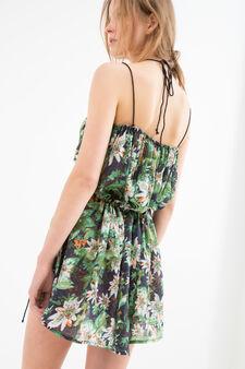 Short patterned dress, Blue, hi-res