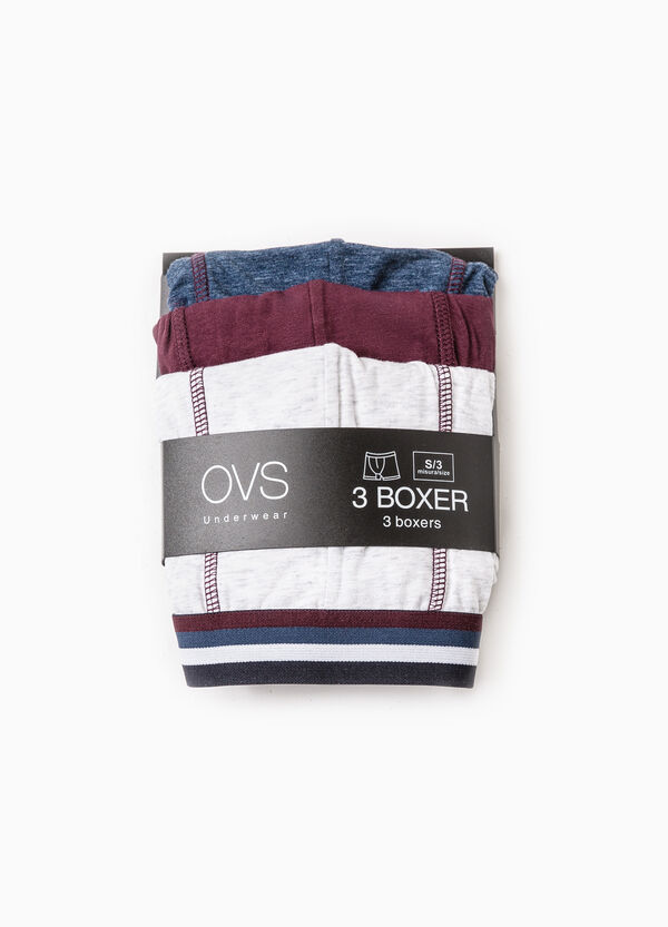 Three-pack stretch boxer shorts with elastic waist band | OVS