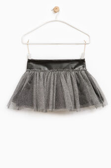 Skirt in lurex tulle, Black, hi-res