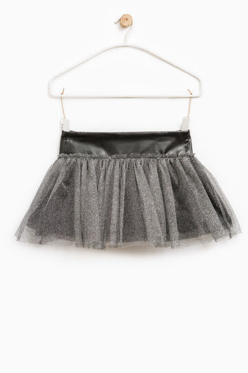 Skirt in lurex tulle, Black, hi-res