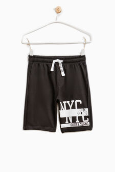 Printed Bermuda shorts in 100% cotton, Black, hi-res