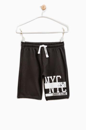 Printed Bermuda shorts in 100% cotton, Black, hi-res