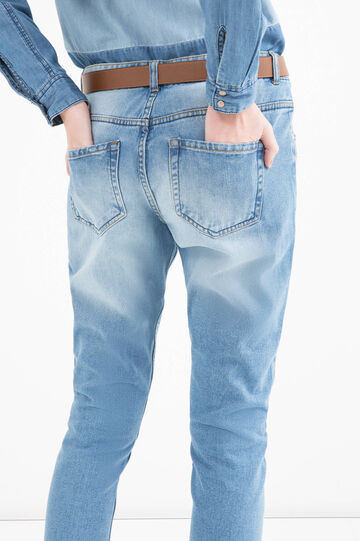 Boyfriend jeans with rips and diamanté motif, Soft Blue, hi-res