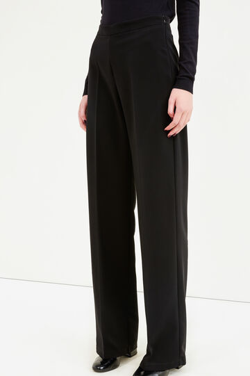 Solid colour trousers with crease, Black, hi-res