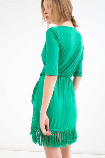 Solid colour stretch dress with fringe, Green, hi-res