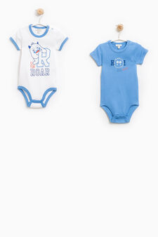 Two-pack printed bodysuits in 100% cotton, White/Light Blue, hi-res