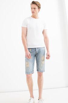 Straight-fit ripped denim Bermuda shorts, Denim, hi-res