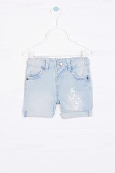 Bermuda di jeans con stampa, Denim, hi-res