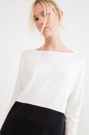 Boat neck cotton pullover, White/Black, hi-res
