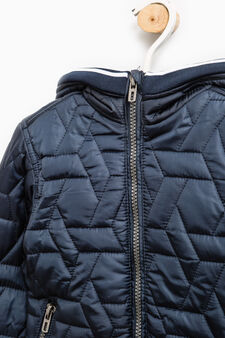 Down jacket with raised quilting and ribbing, Royal Blue, hi-res