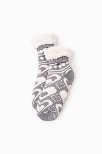 Fur slipper socks, White/Grey, hi-res