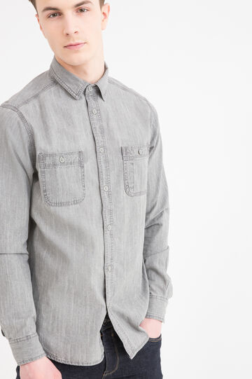 Denim shirt with bluff collar
