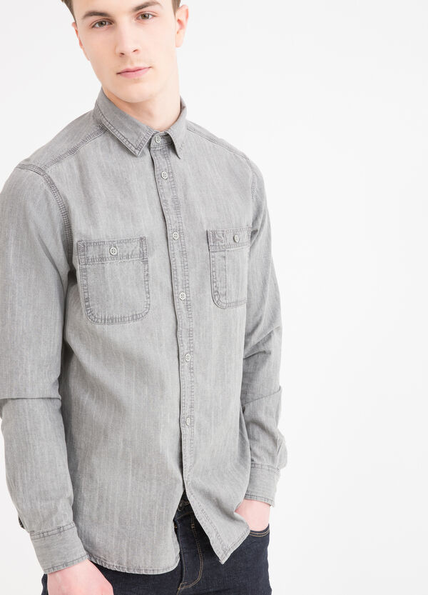 Denim shirt with bluff collar | OVS