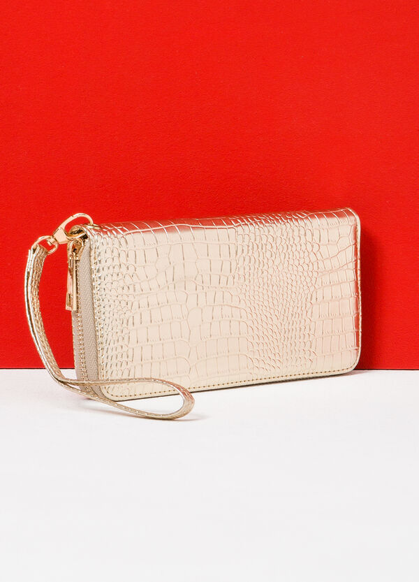 Snakeskin effect wallet with strap | OVS