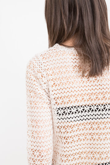 Cotton blend openwork T-shirt.