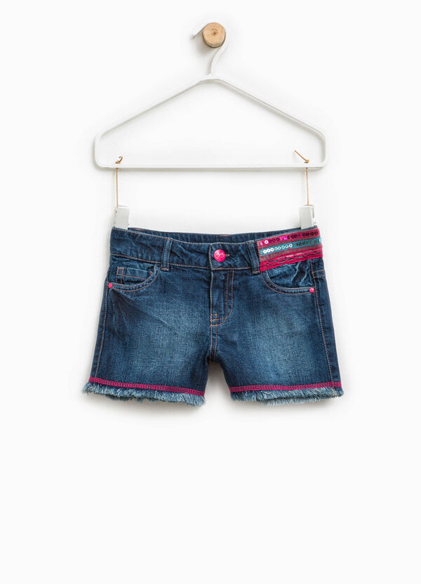 Denim shorts with sequins | OVS