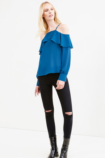 Solid colour blouse with flounces, Petrol Blue, hi-res