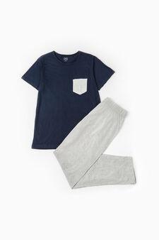 Short-sleeved cotton pyjamas, Navy Blue, hi-res