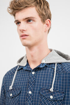 G&H check casual shirt with hood, Blue, hi-res