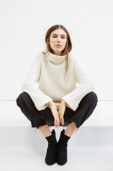 Chunky knit pullover with high neck, Milky White, hi-res