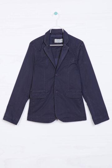 Giacca puro cotone con revers, Blu navy, hi-res