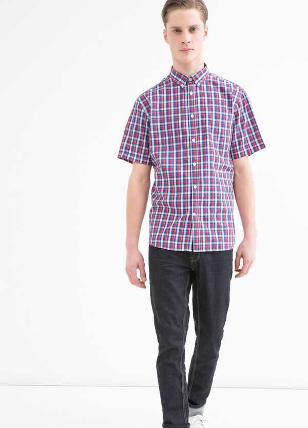 Cotton blend shirt with button-down collar. | OVS