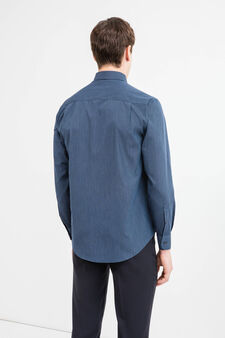 Regular fit formal shirt with pocket, Dark Blue, hi-res