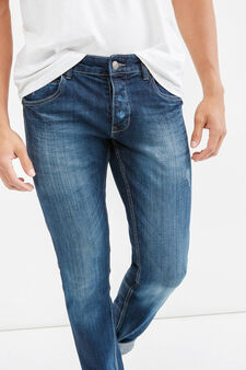 Slim-fit stretch jeans with buttons, Dark Wash, hi-res
