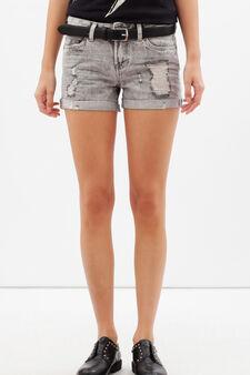 Worn-effect denim shorts, Light Grey, hi-res