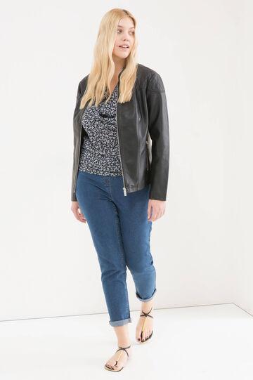 Curvy leather look jacket, Black, hi-res