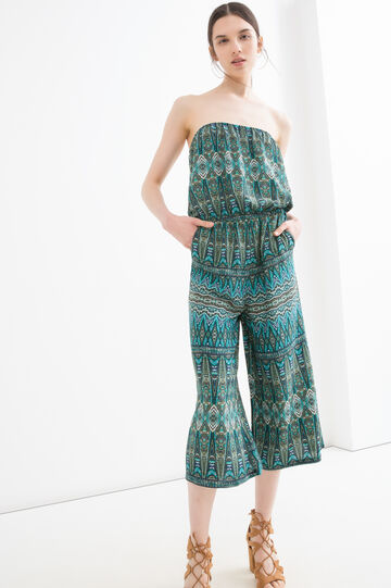 Patterned jumpsuit in 100% viscose, Green, hi-res