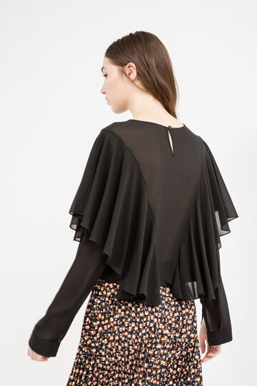 Long sleeved blouse with flounces, Black, hi-res