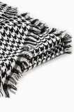 Scarf with hounds' tooth pattern, Black/White, hi-res