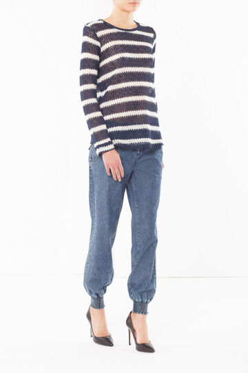 Striped jumper, White/Blue, hi-res