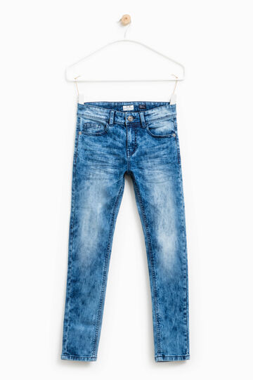 Used-effect slim-fit stretch jeans, Soft Blue, hi-res