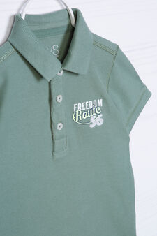 Printed polo shirt in 100% cotton, Green, hi-res