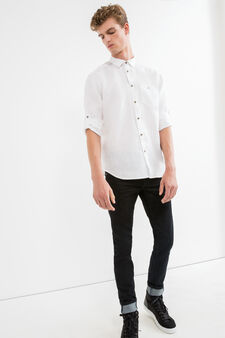 Camicia casual puro lino tinta unita, Bianco, hi-res