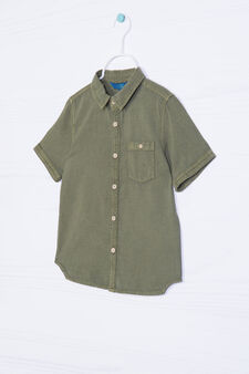 Solid colour linen and cotton shirt, Army Green, hi-res